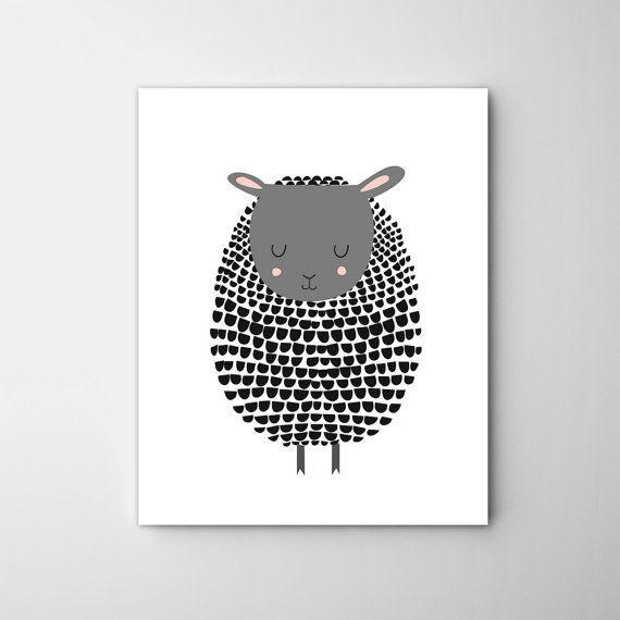 Mouton noir imprimé mouton noir Art agneau Print par CocoandBlu