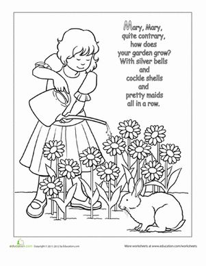 Preschool Fairy Tales Nursery Rhymes Worksheets: Nursery Rhyme Coloring: Mary, Mary, Quite Contrary