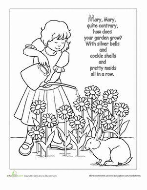 Preschool Fairy Tales Nursery Rhymes Worksheets: Nursery Rhyme Coloring: Mary, Mary, Quite Contrary