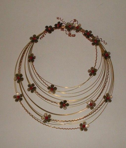 μπρουτζινο στεφανι με χαλκινα λουλουδια κρυσταλλινες χαντρες 20 Χ25-brass hoop copper flower crystal beads 20X25