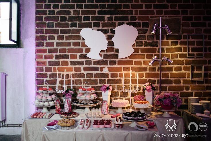 16. Fuchsia Wedding,Silhouette,Sweet table decor / Wesele fuksjowe,Dekoracje słodkiego stołu,Anioły Przyjęć