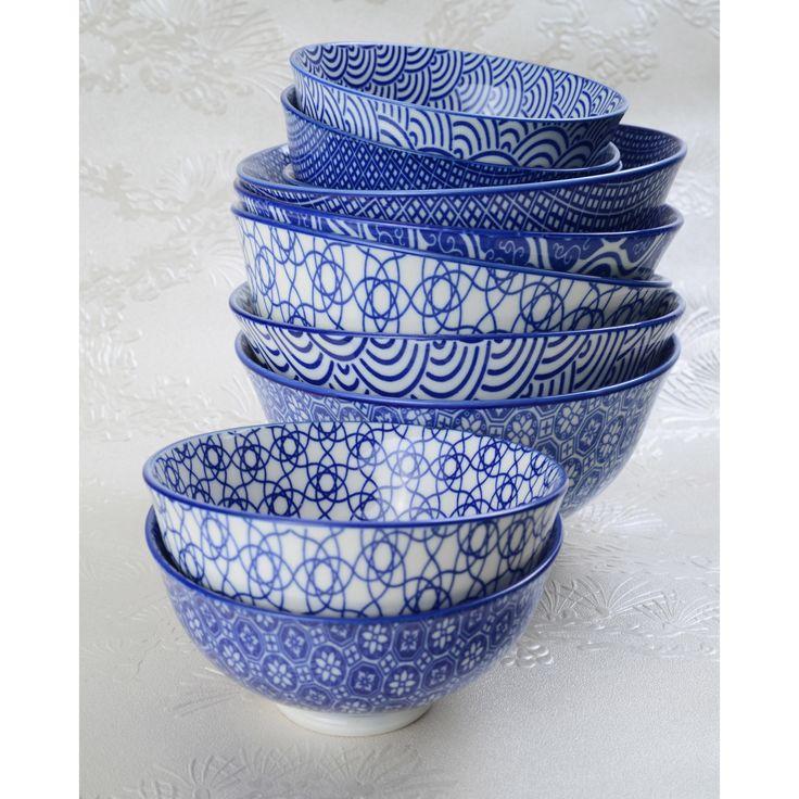 Bol en porcelaine motifs japonais bleu/blanc Coffret de 4 NIPPON (marque : Tokyo Design)