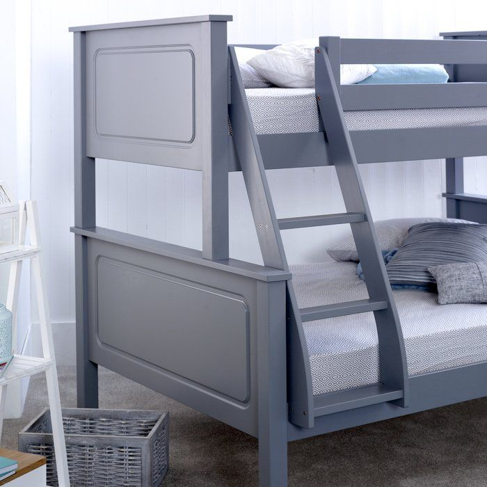The Bilton Triple Sleeper Bunk Bed is a modern bunk bed manufactured using quality pine wood and finished in a solid antique lacquered finish which helps retain the fine qualities of the pinewood. A solid construction build and four guard rails along with an adjustable ladder make it a very safe bunk bed. The bunk bed frame can easily be split and used as separate beds. Single mattress and small double mattress (not included) are supported by strong wooden slatted base for extra comfort. It…