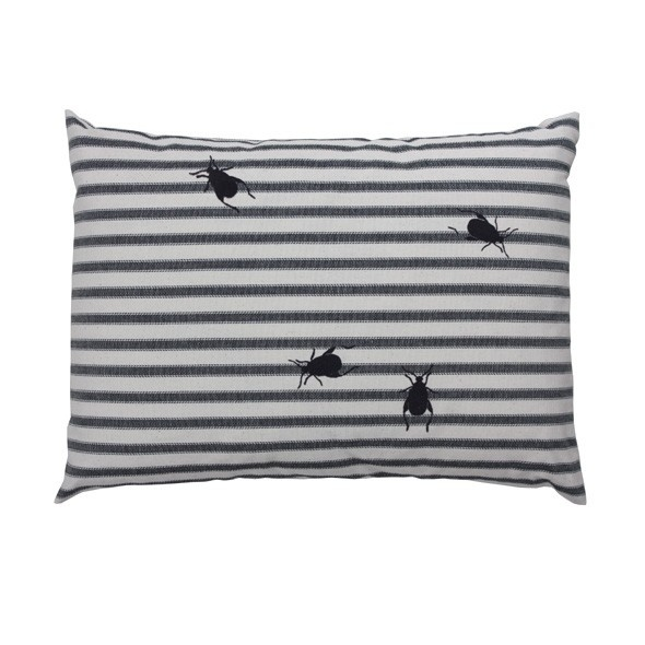 Ticking Beetle Cushion by English makers Thornback & Peel. Hand printed stripes with flock beetles that are eerily irresistible to touch. A fun, cute and curious cushion that will always make people look twice.