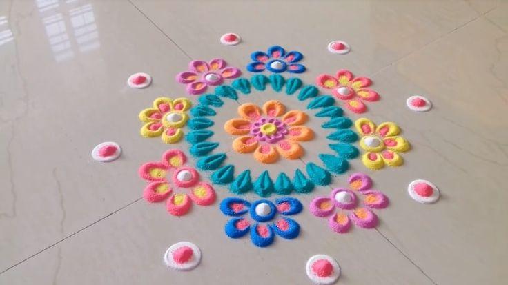 Simple and Easy Rangoli Designs.... Innovative rangoli designs with colours https://www.youtube.com/watch?v=SsCpqBAffHk