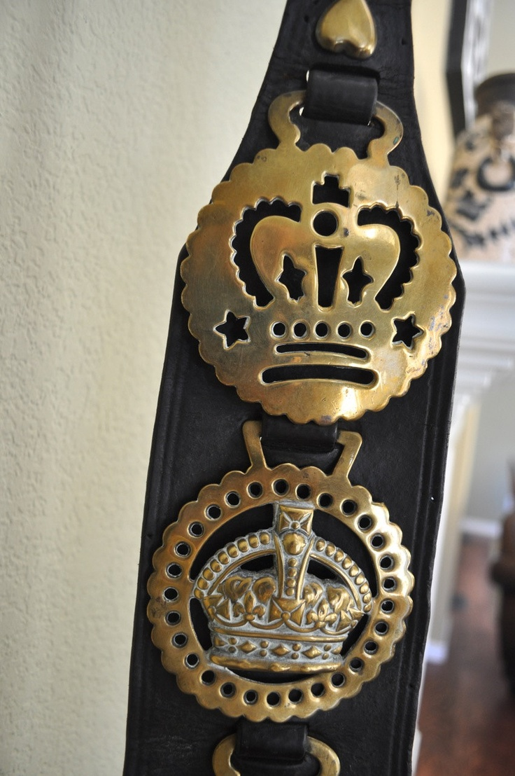 Antique vintage horse brass plaque with crowns, equestrian, horse tack, decoration. via Etsy.