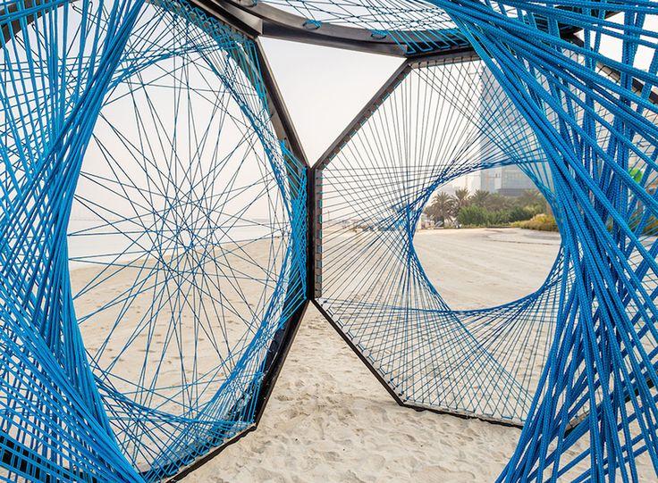 Aljoud Lootah, Dubai Design Week, Dubai, Yaroof, fishing nets, nylon rope, art installation, temporary shelter, vernacular design, arabesque pattern