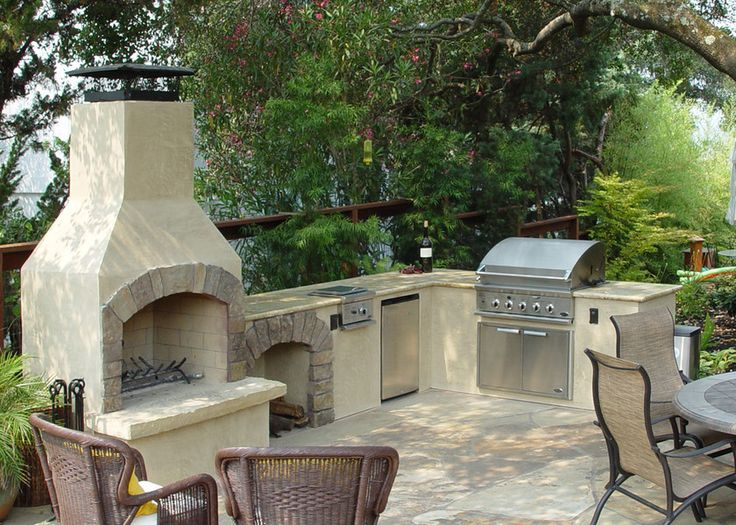 "Customized 36"" Contractor Outdoor Fireplace Kit integrated with custom outdoor kitchen."