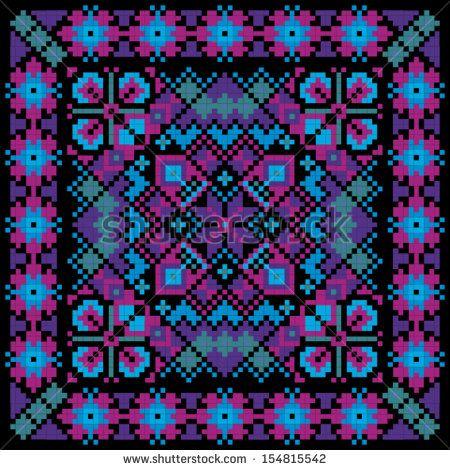 Ethnic ukrainian mosaic ornamental background vector