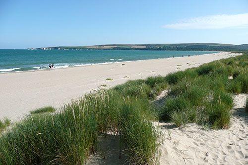 Happy family holidays, Studland beach, Dorset, England, UK