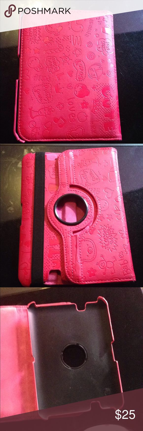 Kindle fire HD 7 Case This is a Kindle fire HD seven case. Is the color hot pink. It is more of like a cartoon pink case. It has been used but still in great condition. The flaws are above but they are small.                Accepting reasonable offers Accessories Tablet Cases
