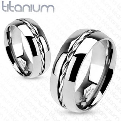 Spectacular mm Rope Twist Inlay Center Wedding Band Ring Solid Titanium Men us Ring
