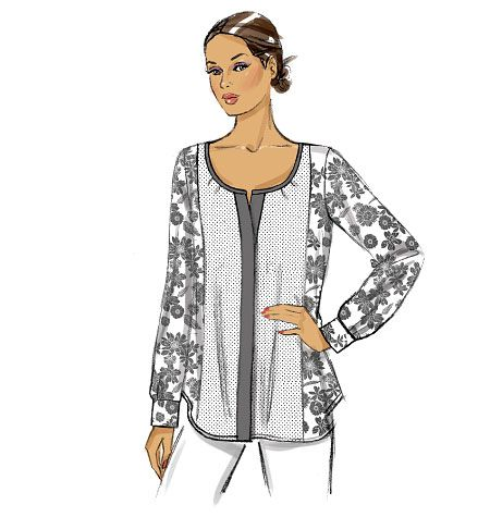 Have fun mixing prints and solids with this new tunic from Vogue Patterns. Sew many options! V9086