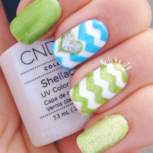 chevron neon nails