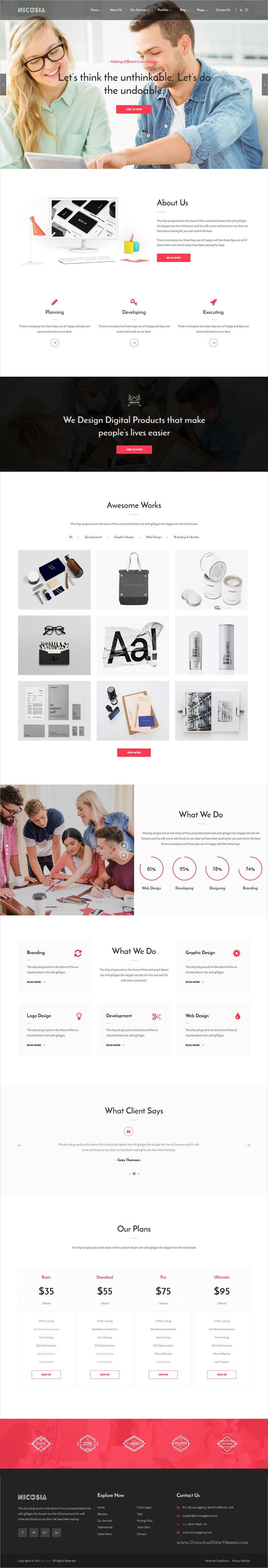 Nicosia is clean and modern design 3in1 responsive #WordPress theme for online #marketing, #SEO and social media agency website download now..