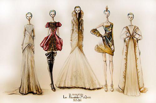alexander mcqueen, art, fashion, illustration, sketches
