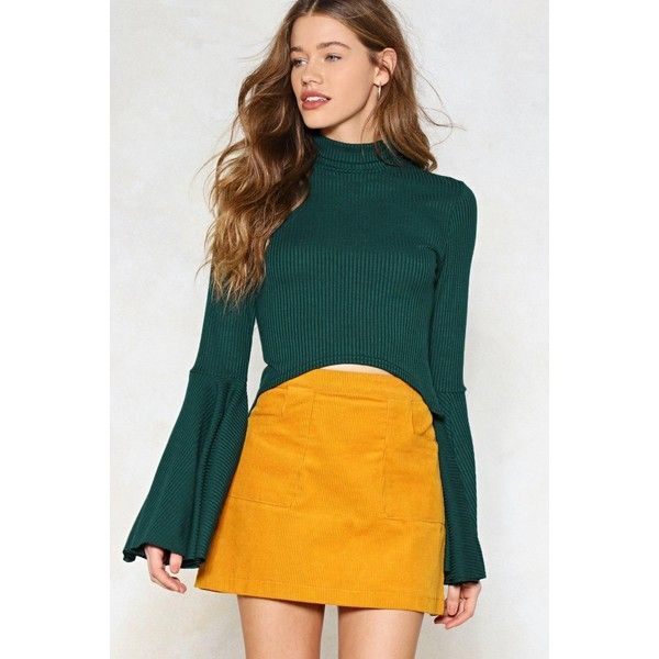 Nasty Gal Take Flare of It Ribbed Crop Top ($12) ❤ liked on Polyvore featuring tops, sweaters, bottle green, green crop top, ribbed turtleneck sweater, bell sleeve crop top, green crop sweater and ribbed turtleneck