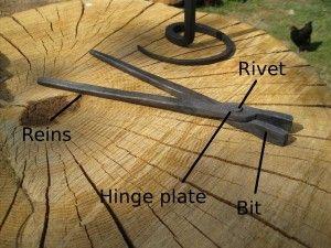 Making blacksmith's tongs: labelled diagram of blacksmith's tongs