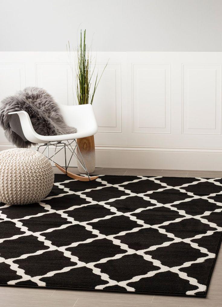 Transitional Rug Black & White High Quality Carpet Polypropylene