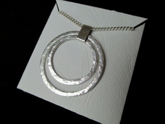 Contemporary Hammered Sterling Silver Circles Pendant Necklace - handmade
