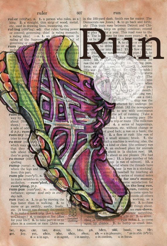 6 x 9 Print of Original, Mixed Media Drawing on Distressed, Dictionary Page    This drawing of a running shoe is drawn in sepia ink and created with