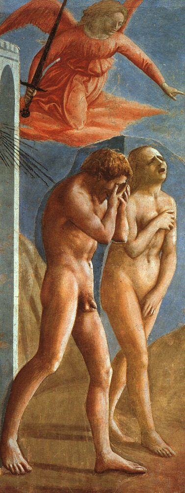 Masaccio,Adam and Eve Expelled from Paradise, 1427.oil painting reproductions.  Such a poignant picture. Adam full of grief but Eve grieving and ashamed. Lots to think about here.  Pudency- modesty