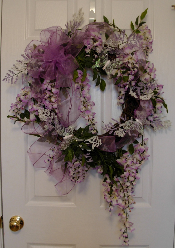 Wispy and Elegant Wisteria Wreath w/ Sheer Purple Ribbon & Butterfly Accents. $149.00, via Etsy.