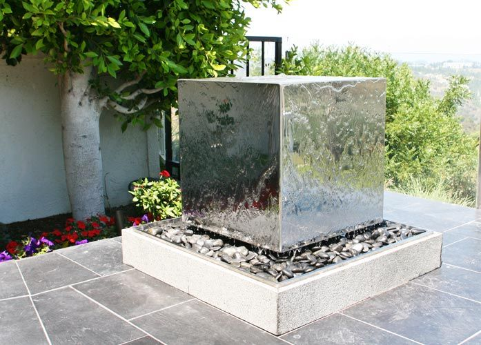 Stainless Steel Cube Landscape Water Feature Fountain