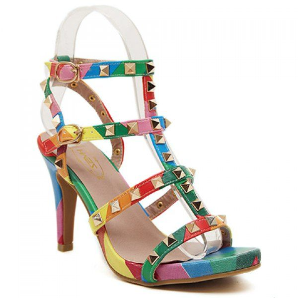Trendy Stiletto Heel and Rivets Design Women's Sandals