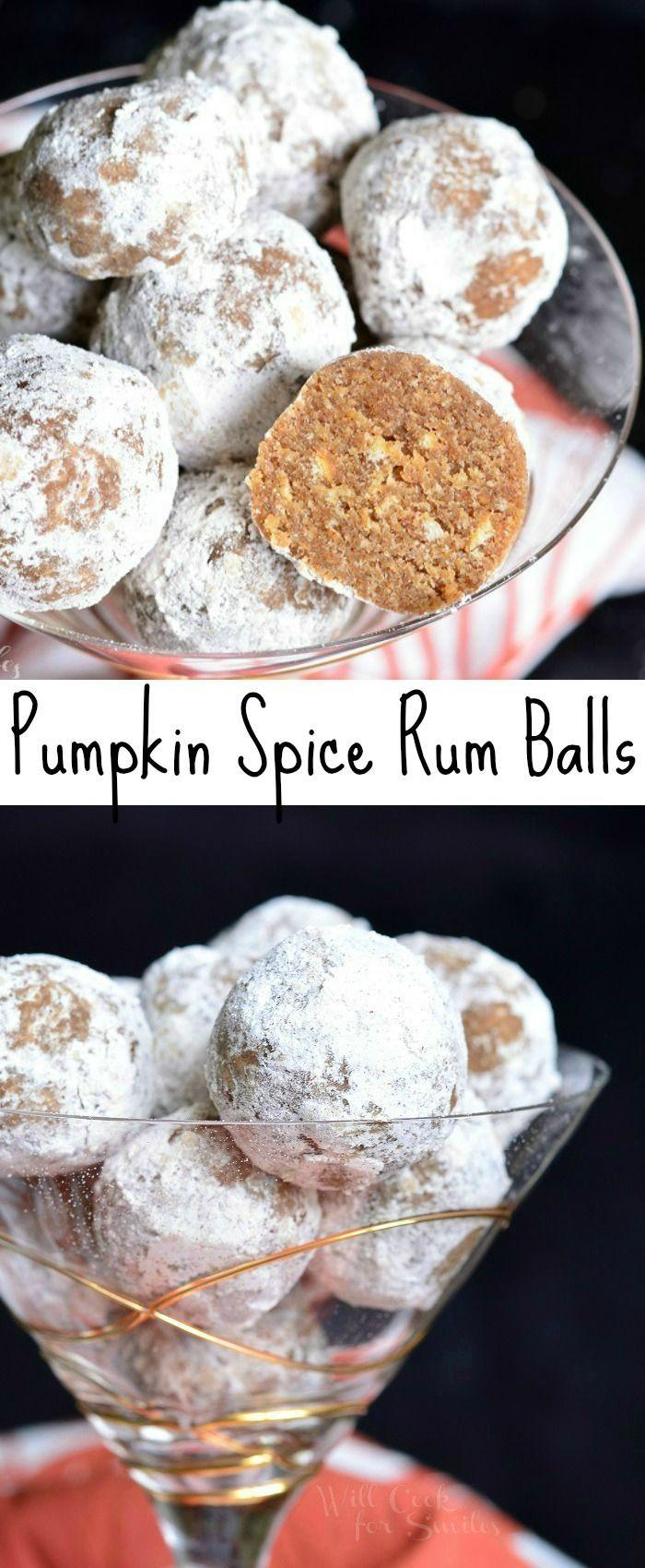 Pumpkin Spice Rum Balls | from willcookforsmiles.com #dessert #cookie