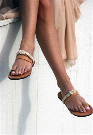 Greek Leather Toe Ring Sandals - Rope Sandals - Women Shoes