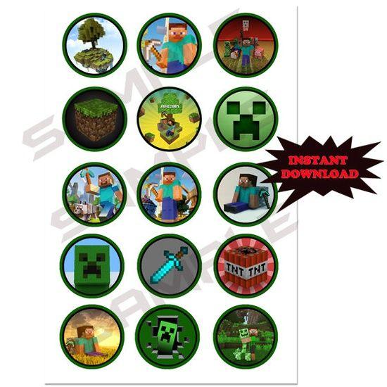 Buy Minecraft Birthday Supplies   Minecraft Birthday Party Ideas / Minecraft 15 Bottle Cap Images 1 Inch ...