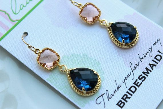 Gold Blush Earrings Sapphire Champagne Peach by laaleebridal