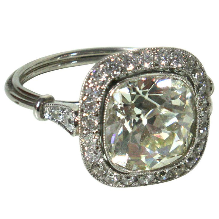 Superfabulous French Art Deco cushion cut diamond. Dibs.