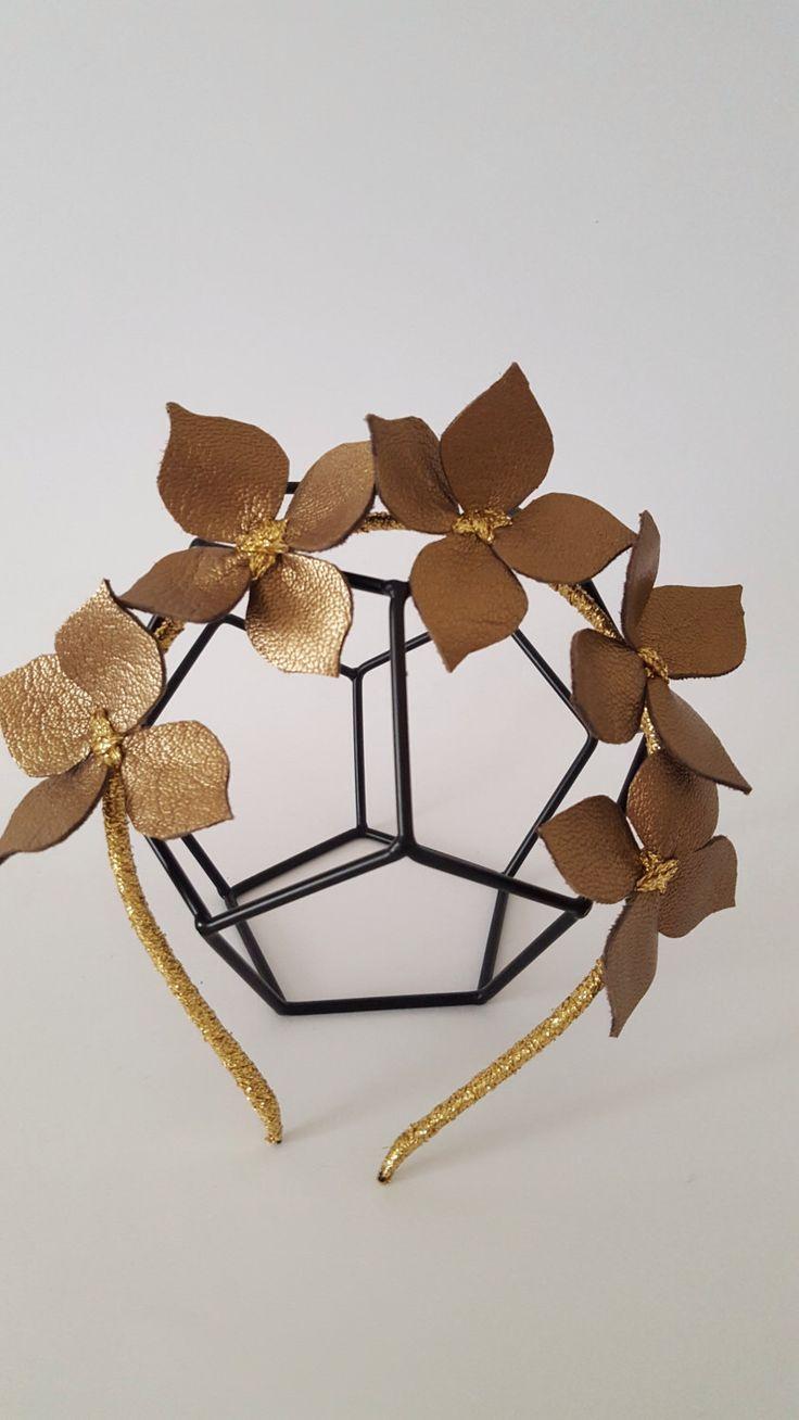 Chocolate Leather Crown ,Headband, Leather Flower Headpiece, Wedding Fascinator by Emeraldhandmade on Etsy https://www.etsy.com/au/listing/459397972/chocolate-leather-crown-headband-leather
