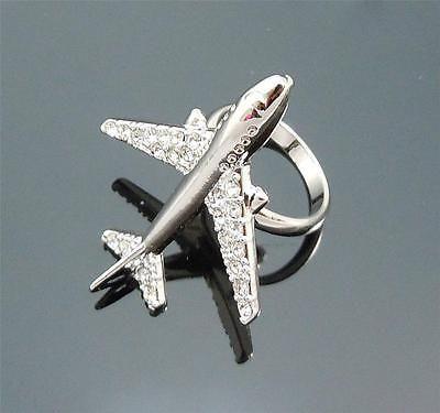 Glam Detalle avión Swarovski CRYSAL allanar De Metal Plateado Anillo Ajustable in Joyería y relojes, Joyas de moda, Anillos | eBay