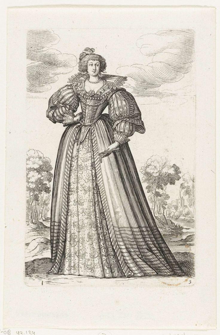 Abraham Bosse | Kostuumprent: Franse vrouwenmode ca. 1630, Abraham Bosse, 1629 | Dame van voren gezien, staand voor landschap met bomenlaan. Ze is gekleed in japon met bloemmotieven, waaroverheen een openvallende mantel met wijde opgevulde mouwen. Brede opstaande kanten kraag. In haar linkerhand een dichtgevouwen waaier. R.o. genummerd: 3 (uit serie Le Jardin de la Noblesse...1629)