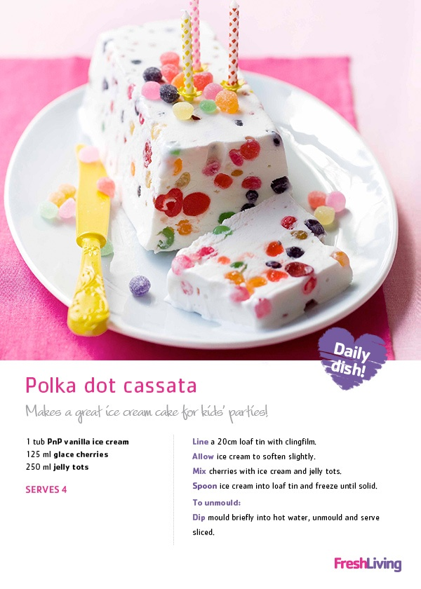Throwing a #birthday #party for your little ones or just celebrating summer? Win your guests' hearts with polka dot ice cream #cake! #recipe #dailydish #cassata #picknpay
