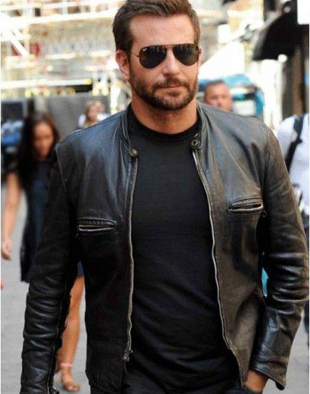 Bradley Cooper Black Sports Leather Biker Jacket For Men's
