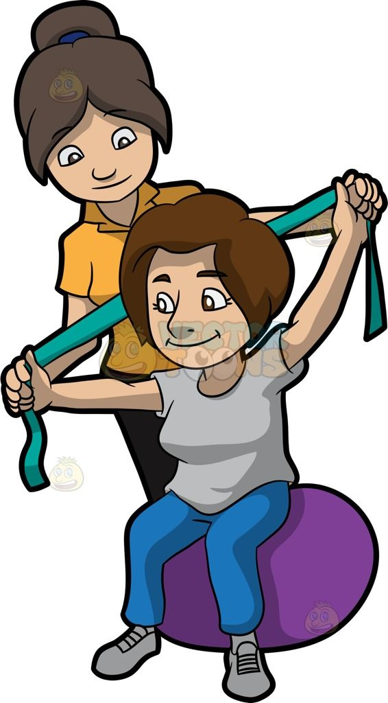 A Female Physical Therapist Helping A Patient Stretch Her Arms :  A woman with brown black ponytailed hair wearing a yellow orange polo shirt and black pants helps a woman with brown hair sitting on a purple beanie chair wearing a light gray shirt rubber shoes and blue pants stretch her arms using a green resistance band  The post A Female Physical Therapist Helping A Patient Stretch Her Arms appeared first on VectorToons.com.