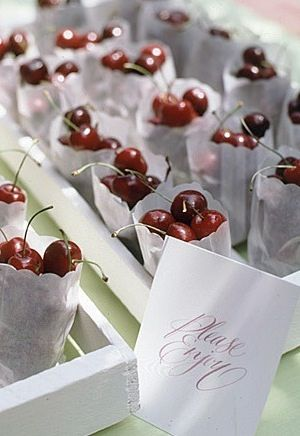 We love these cherry party favours. So pretty and healthy as well! #ThePromiseAU