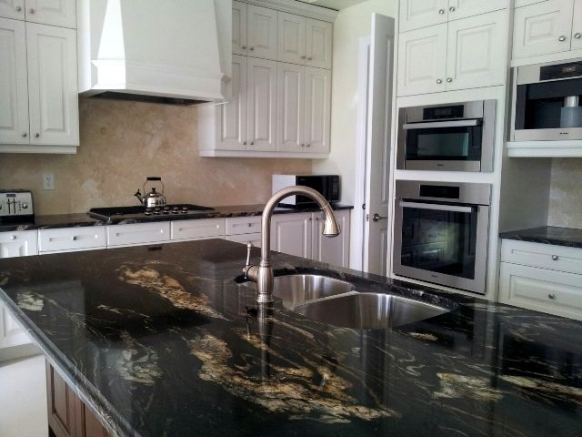 Black Granite Countertops With Tile Backsplash Property Best Decorating Inspiration