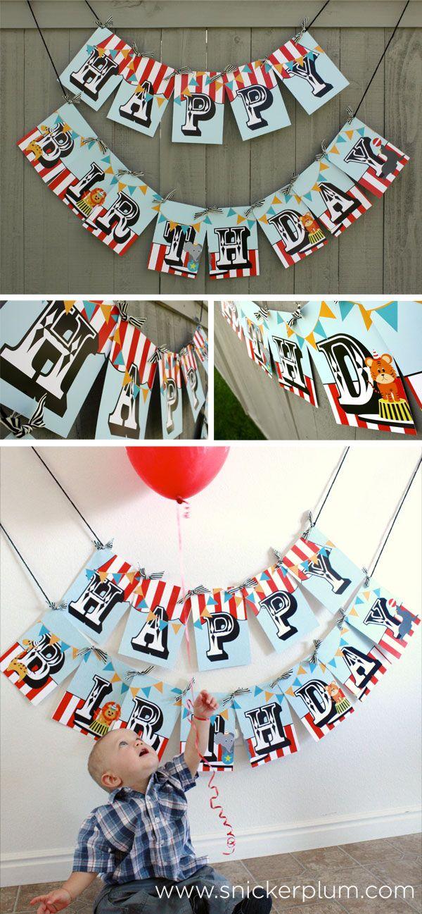 Snickerplum Circus Birthday Party Banner