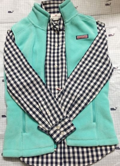 this is so cute! vineyard vines vest with gingham shirt