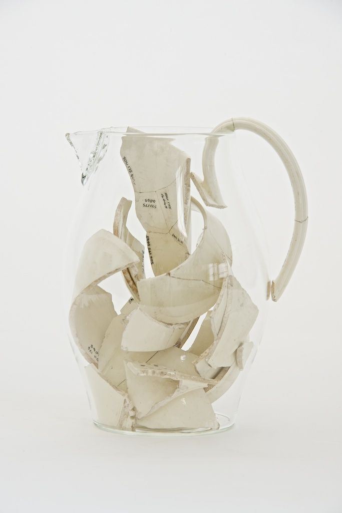 "For his ""Memories"" series, Bouke de Vries created glass 'ghost' vessels to hold the fragments of broken antique ceramics, creating a convers..."
