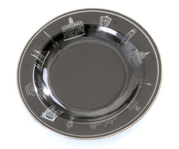 Symbols of the City Round Glass Platter. #glass #black #city #johannesburg #design #decor