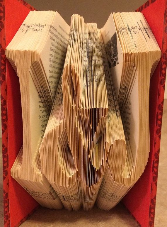 Folded Book Art YOUR INITIALS ~ Folded Book Art Made to Order boyfriend girlfriend anniversary gift wedding anniversary