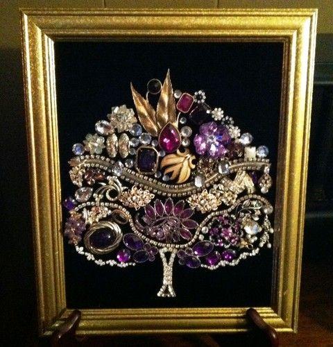 Framed Vintage Jewelry Art Tree of Life Christmas Tree Purples