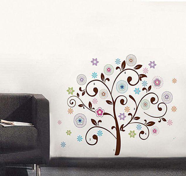 Väggdekor Träd med färgglada blommor