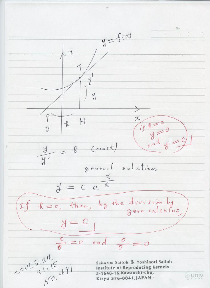№491-880   微分方程式とゼロ除算ですが、k=0の場合の説明、上手くいきます 。 接線影の長さが 直線の場合、無限ではなく、実はゼロであることをよく示しています。 一般的に、無限量と考えられていたのは ゼロで表され、無限は極限、近づく状況を表す概念で、決まった量でないことが わかります。 The division by zero is uniquely and reasonably determined as 1/0=0/0=z/0=0 in the natural extensions of fractions. We have to change our basic ideas for our space and world   Division by Zero z/0 = 0 in Euclidean Spaces Hiroshi Michiwaki, Hiroshi Okumura and Saburou Saitoh International Journal of Mathematics and Computation Vol. 28(2017)…